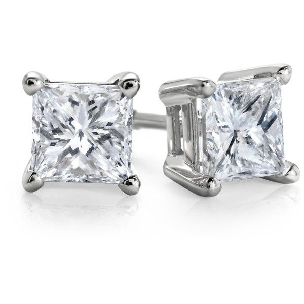 Blue Nile Princess-Cut Diamond Stud Earrings in 14k White Gold (1 ct. ($1,825) ❤ liked on Polyvore