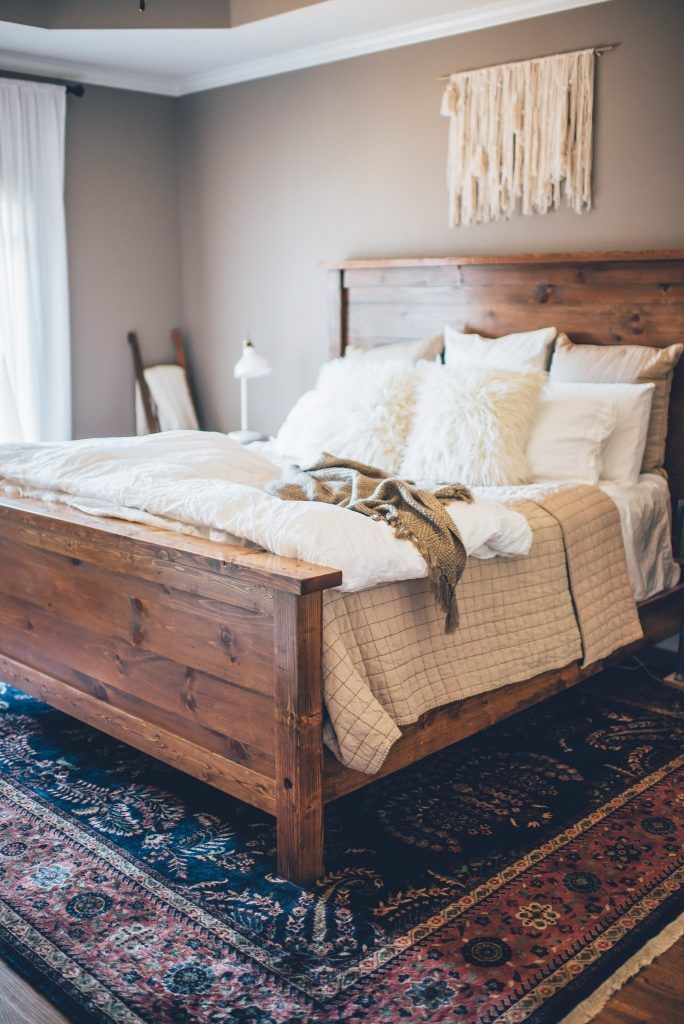 Master Bedroom Inspiration Wooden Bed White Bedding Neutral Walls Farmhouse Bedroom Decor Rustic Master Bedroom Farmhouse Style Master Bedroom