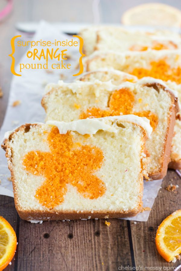 Surprise Inside Orange Bread: Surprise Inside, Orange Pound Cakes, Sweet Treats, Flowers Center, Orange Flowers, Center Inside, Chelsea Messy, Inside Orange, Messy Aprons