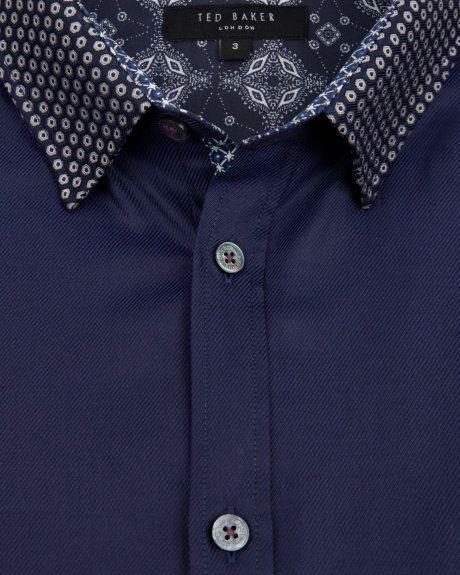 Printed collar shirt - Navy | Shirts | Ted Baker UK www.MadamPaloozaEmporium.com www.facebook.com/MadamPalooza