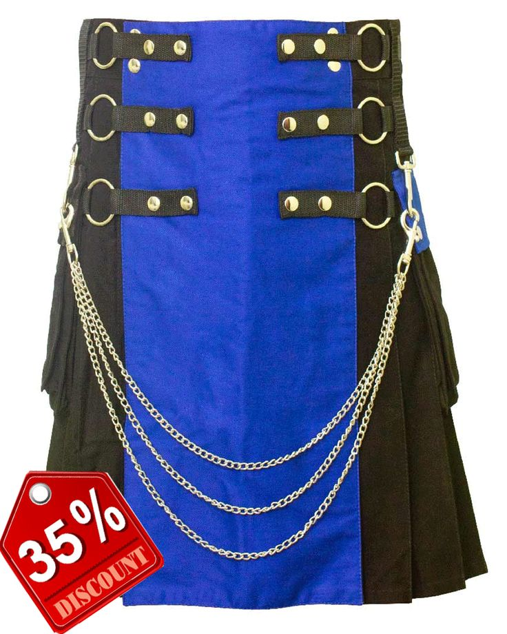 Black #Fashion #Kilt with Blue Front #Apron. Our handmade kilts are built to last and will withstand any manly task you put them up to. The style is traditional with added functionality. The custom #button placement and #buckle closure give our kilts a unique flare you won't find anywhere else. #RoyalKilt Original_Price- $144 Offer_Price-$99 Visit our online kilt shop we offer most authentic and latest…