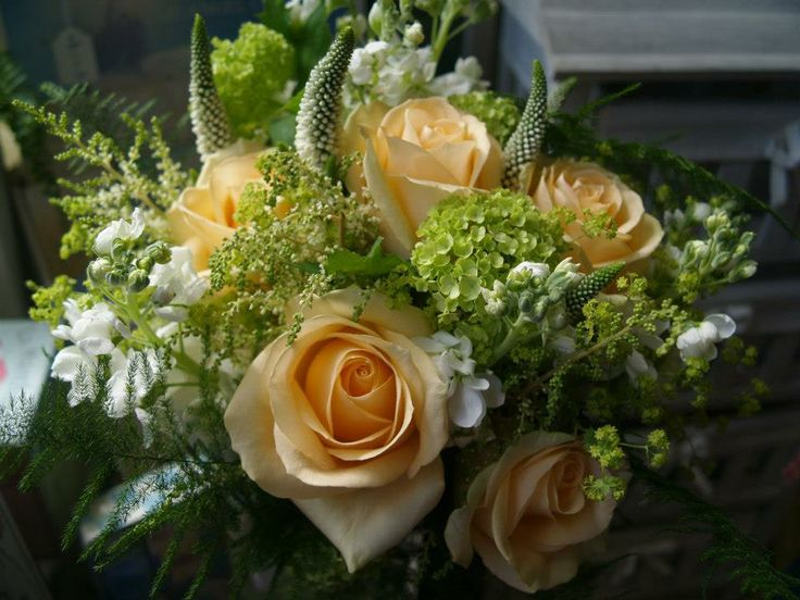 Wedding Bouquets green with peach
