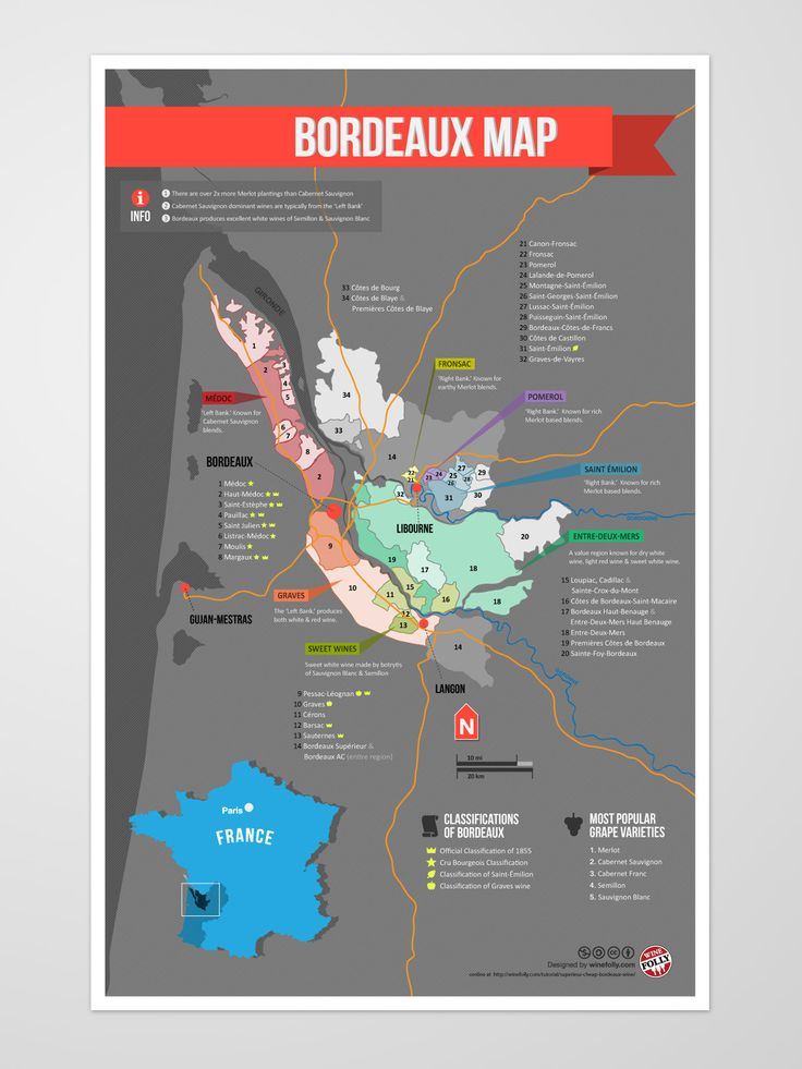 Map of Bordeaux wine regions.