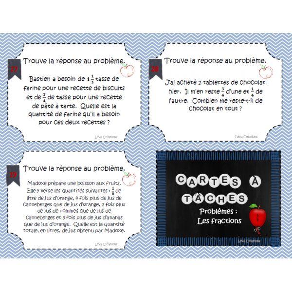 Cartes à tâches: Problèmes sur les fractions