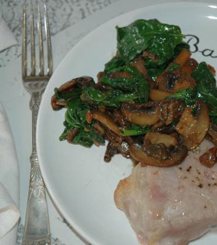 Mushroom and Spinach Side Dish http://www.food.com/recipe/mushroom-and-spinach-side-dish-240038