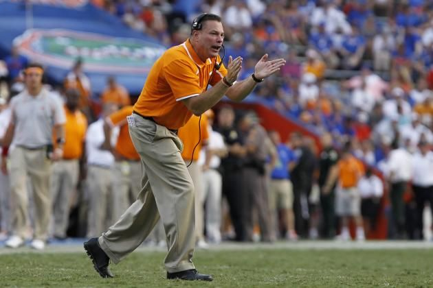 Tennessee coach  Butch Jones gives the Vols a little encouragement.
