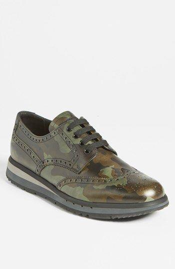 Prada Camo Wingtip Sneaker  Nordstrom.. Dress shoes in the hood? Lol