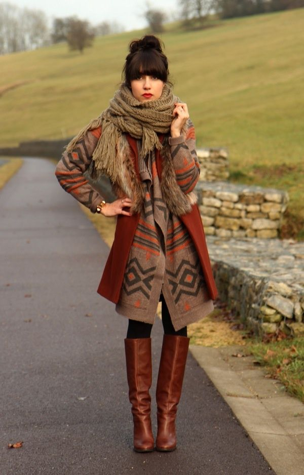 Pretty outfit brown boots and scarf | Clothes! D | Pinterest
