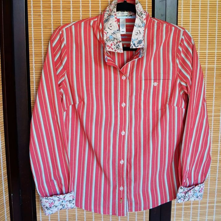 Old Navy ladies coral striped button down size M | eBay