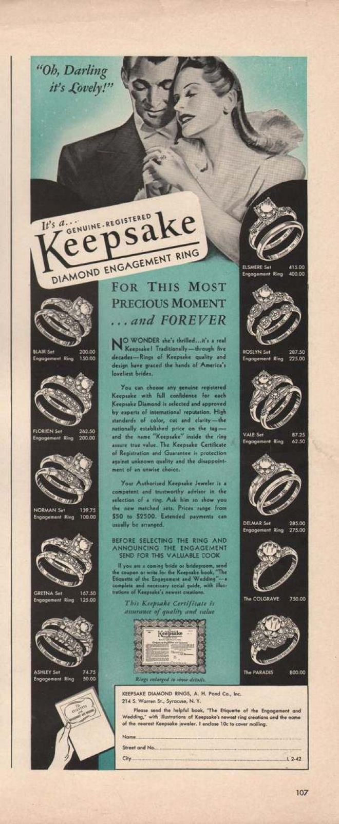 Vintage wedding & engagement ring ad, circa 1940s - 1950s - Keepsake Brand