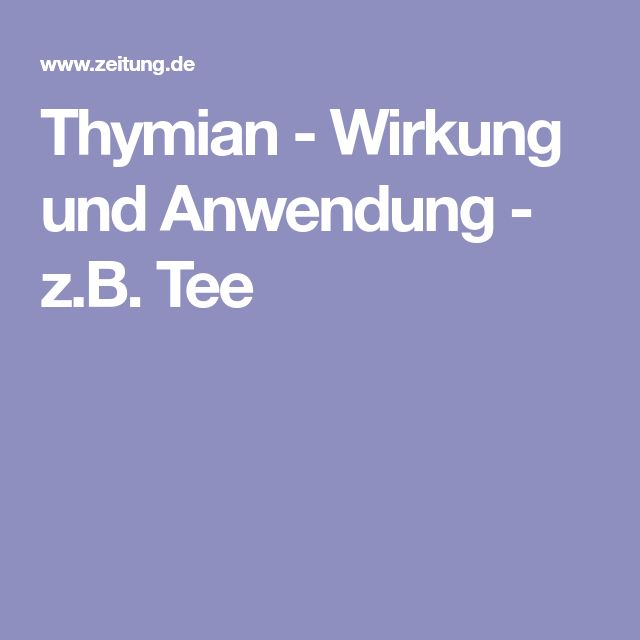 Thymian - Wirkung und Anwendung - z.B. Tee