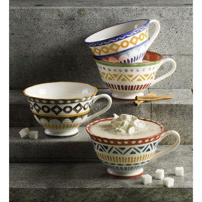 EuroCeramica Amalfi 4 Piece Latte Cup Set