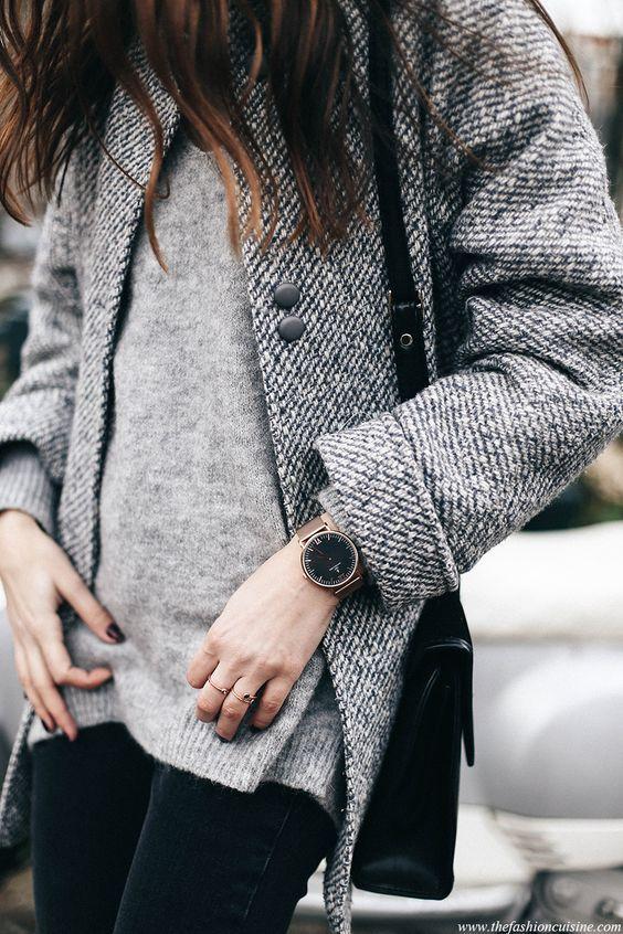 Grey Tweed Cocoon Coat Mohair Sweater Kapten and Son watch