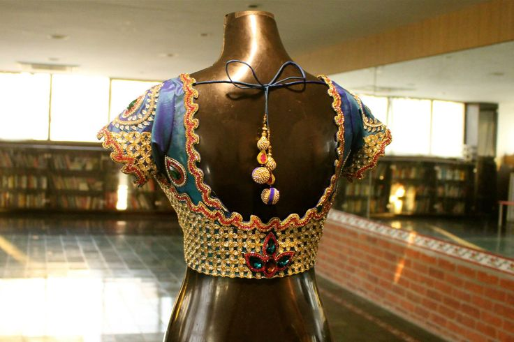 indian blouse designs. Love the intricate stone detailing on this  blouse back! 25 February 2016