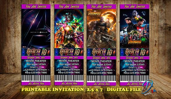 Infinity War Infinity War movie Infinity War invite Ticket