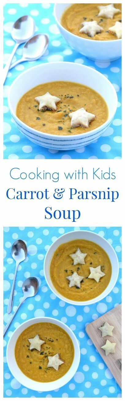 Really easy carrot and parsnip soup recipe - part of a series of easy recipes for kids with free printable child friendly recipe sheets - dairy free soup recipe