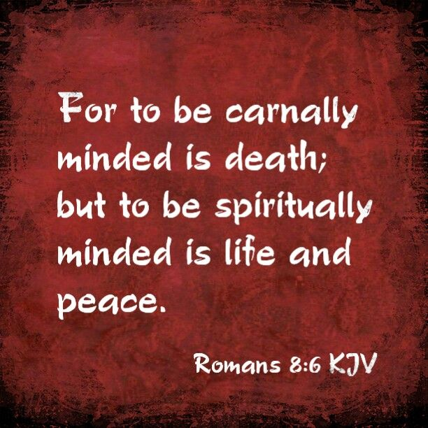Romans 8:6 KJV  For to be carnally minded is death; but to be spiritually minded is life and peace.