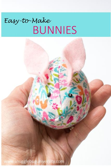 Make simple stuffed bunnies with fabric scraps.  Simple enough for a child to make!