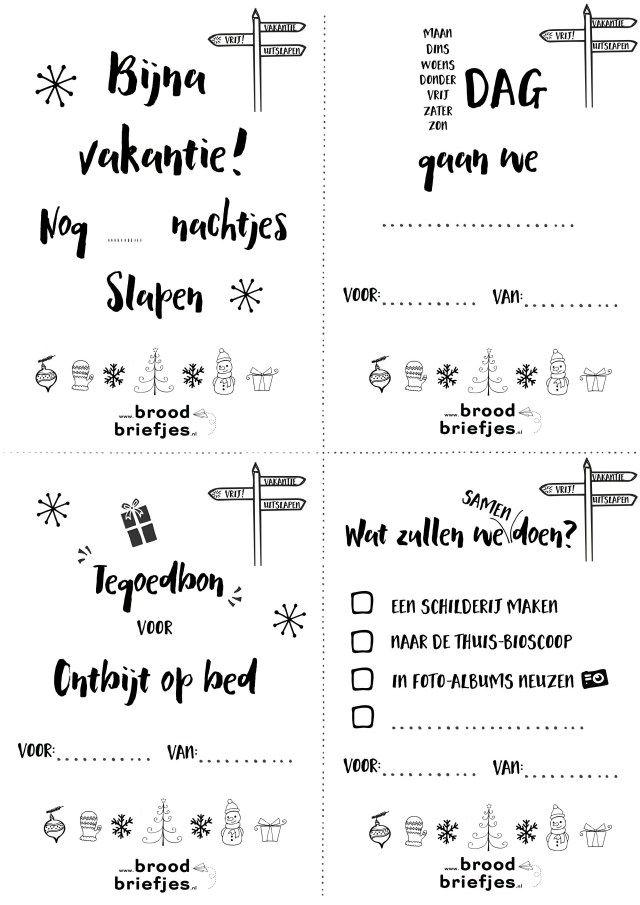 Bijna kerstvakantie! Wij kunnen niet wachten. Daarom voor de voorpret vier KerstvakantieBroodBriefjes! Lees onze blog, sla ze op en printen maar!