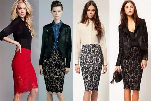 C чем носить кружевные юбки