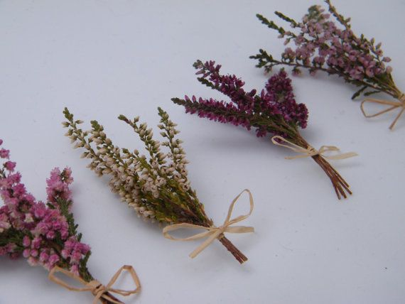 Four mini bunches of lucky heather flowers by DaisyShopUK on Etsy in a choice of colours and either raffia or ribbon. These little bunches of Scottish heather would make a lovely good luck token or buttonhole.