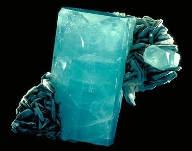 Beryl (variety: Aquamarine)    Although these two minerals grew side by side, they have different shapes. The atoms in beryl connect in a six-fold pattern and form six-sided crystals. The atoms in muscovite form layers that make sheet-like crystals.