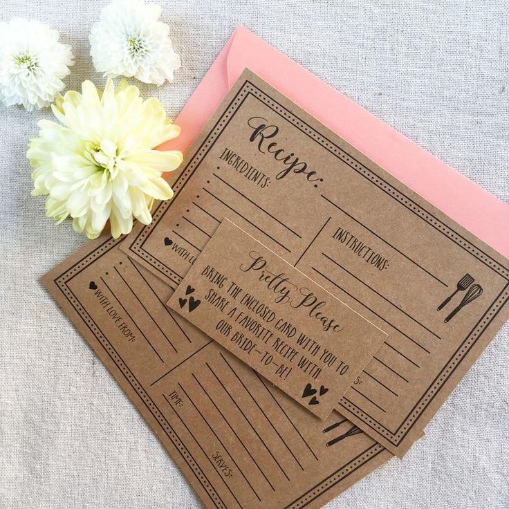 FREE Printable Recipe Cards Wedding PartiesWedding ShowersWedding