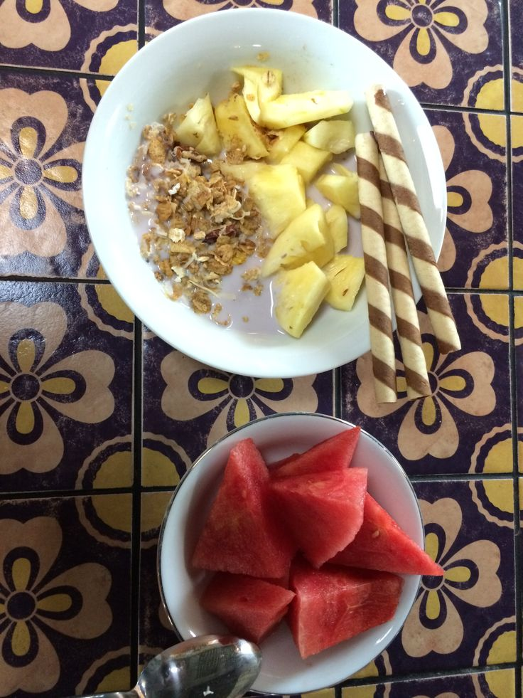 Watermelon good for flushing you body toxic, and pineapple rich of vit C, choco wafer stick for cheating it's OK