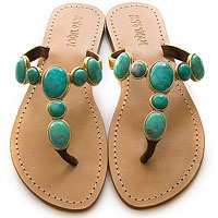 Turquoise sandals to flip flop around on the beach....