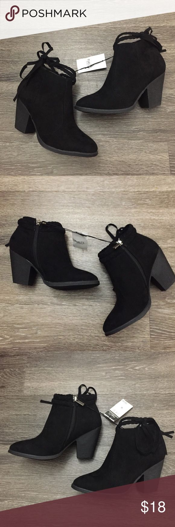 Rue 21 ankle black booties #sizemedium #size7 #rue21 #black #anklebooties with wrap around ankle detail . New with tags never worn only tried on . #booties #boots great for casual or dressing up . Pair with #jeans #leggings #miniskirts #bodycon #pencilskirt or a #skaterdress or #bodycon #dress and a cute #jacket #fashion fall #winter Rue 21 Shoes Ankle Boots & Booties