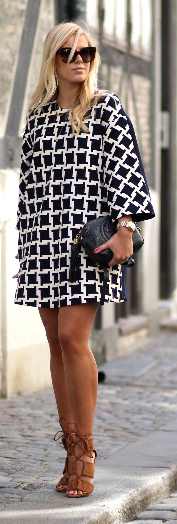 Geo Print Dress Chic Style by Natulia