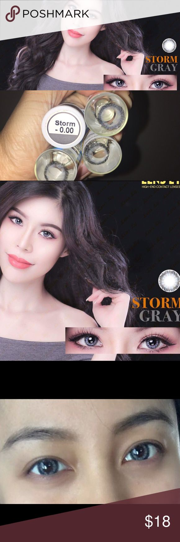 Gray non prescription contact lens Brand: Bella Color : Storm gray Diameter: 14.2 Duration : 1 year disposable Origin : South Korea Package content: 1 pair ( 2 pieces) case with mirror Water content : 55% Bella Makeup