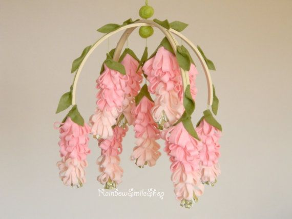 Pink wisteria baby mobile Flower mobile Baby girl mobile Pink gold nursery decor Baby Mobiles Hanging Floral Mobile – T Elliott