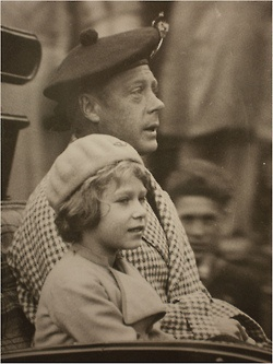 """Queen Elizabeth as a little girl with her father, whose title was then, """"Prince Albert, Duke of York.""""  He would later become King George VI."""