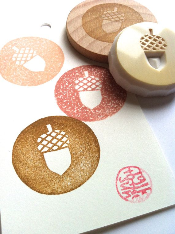 acorn rubber stamp. hand carved stamp. circle by talktothesun