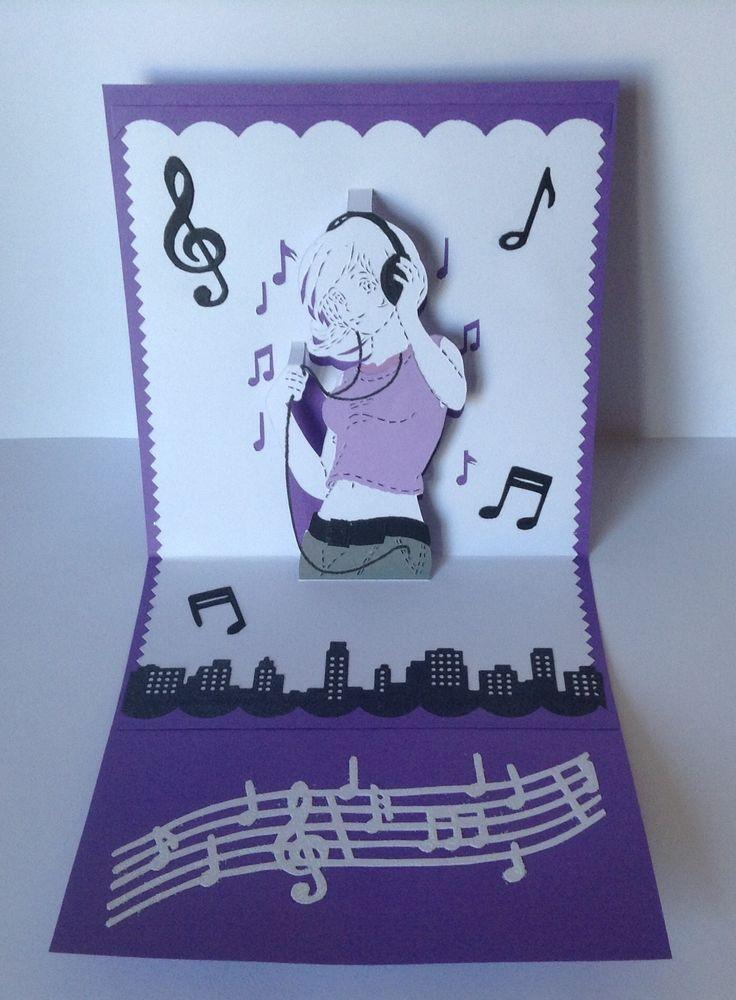 Carte anniversaire kirigami musique pour adolescente
