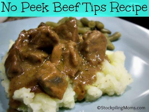No Peek Beef Tips is the BEST BEEF TIPS RECIPE EVER! #beeftips