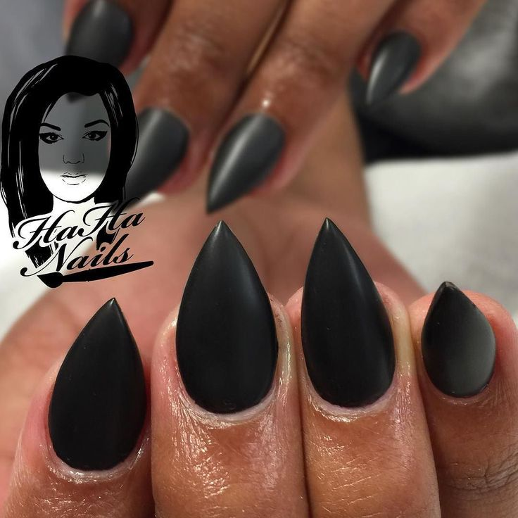 Short stiletto with matte black #stilettos #nails #almonds #mattenails…