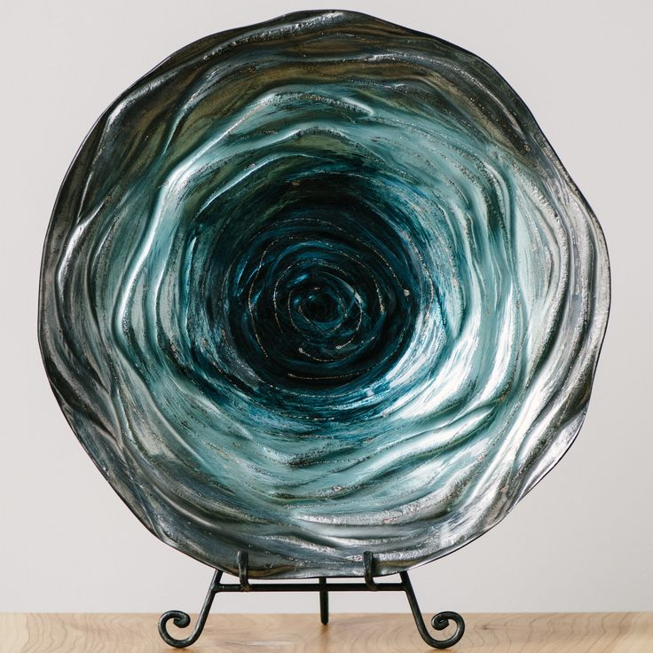 Decorative Glass Teal Plates