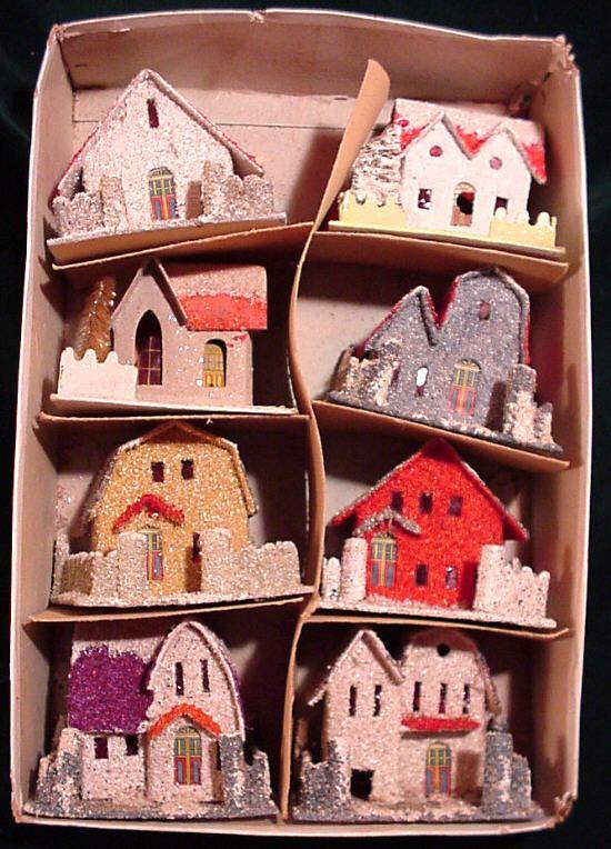 smal boxed set cardboard Xmas putz houses