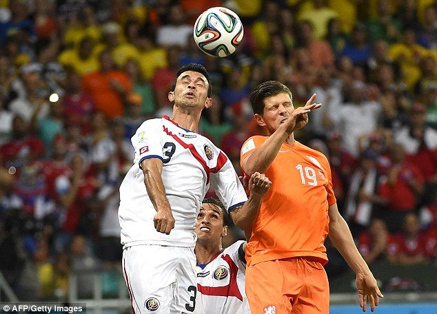 Rock solid: Costa Rica's Giancarlo Gonzalez (left) helped his country keep three clean she...