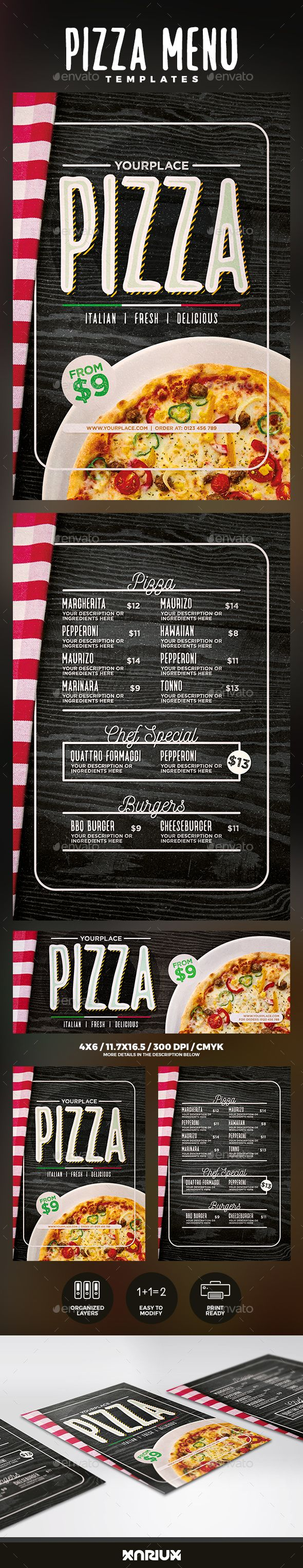 #Pizza #Menu Templates - #Food Menus Print Templates