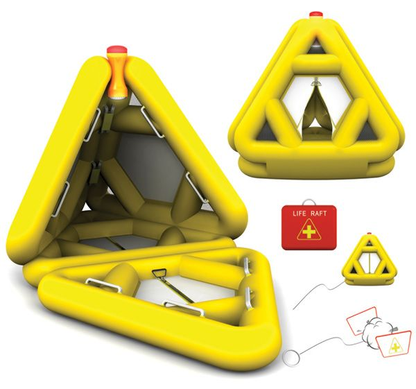 The Triangle of Life Life Triangle is a life raft featuring a multi-directional triangular shape so that it doesn't capsize easily. Apparently the triangular structure prevents the raft from turning over, a fear often associated with smaller rafts. The boat involves automatic inflation and features a movable signal light containing GPS technology.