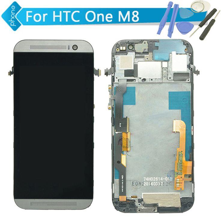 Cho htc one m8 lcd display + touch screen digitizer với frame hội đen/trắng/vàng + công cụ miễn phí vận chuyển
