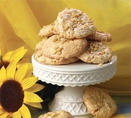 Almond cookies with Pine Nuts ~ Ingredients ~ 1 can(8 oz) Solo Almond Paste 3⁄4 cupsugar 2 egg whites pignoli nuts (pine nuts) ~ When properly stored, these cookies keep well in the freezer and can even be eaten while frozen!