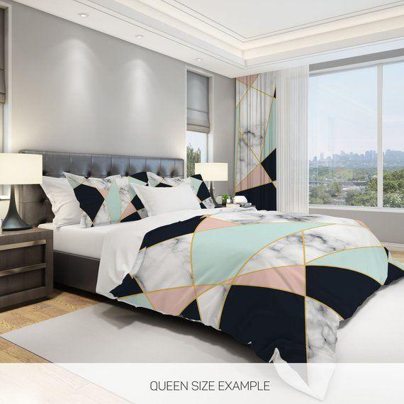 Marble Bedding Geometric Bedding Triangle Bedding Modern Etsy Modern Comforter Sets Modern Bed Modern Comforter Modern king comforter sets