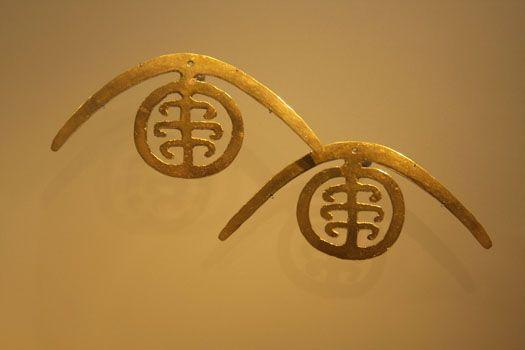 Golden earrings in the Gold Museum, Bogotá, Colombia