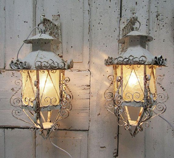 Electric Sconce Lanterns Set Wall Hanging White Distressed Rusted Lighting Newly Wired Original Hooks Shabby Vintage Chic Anita Spero Design Lantern Set Shabby Vintage Decor Shabby Vintage