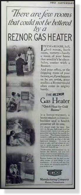 old photos of Mercer, Pennsylvania   1913 Reznor gas heater Mercer, Pennsylvania vintage AD