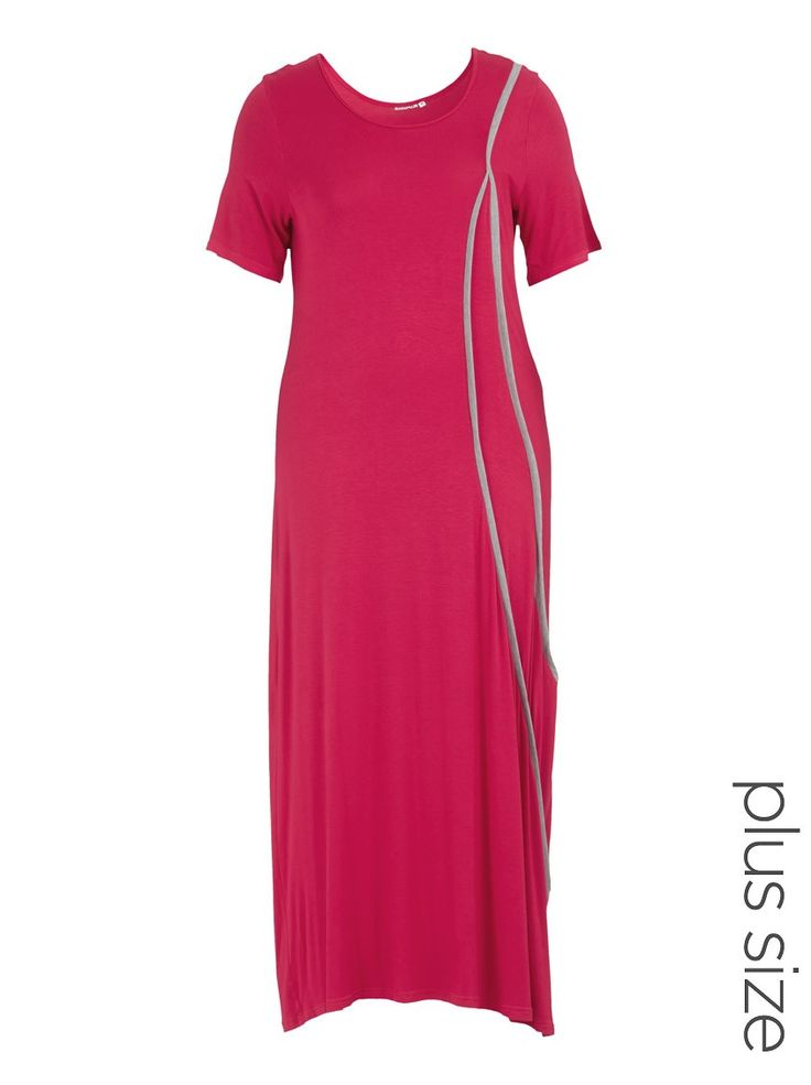 Knit dress with piping Dark Pink